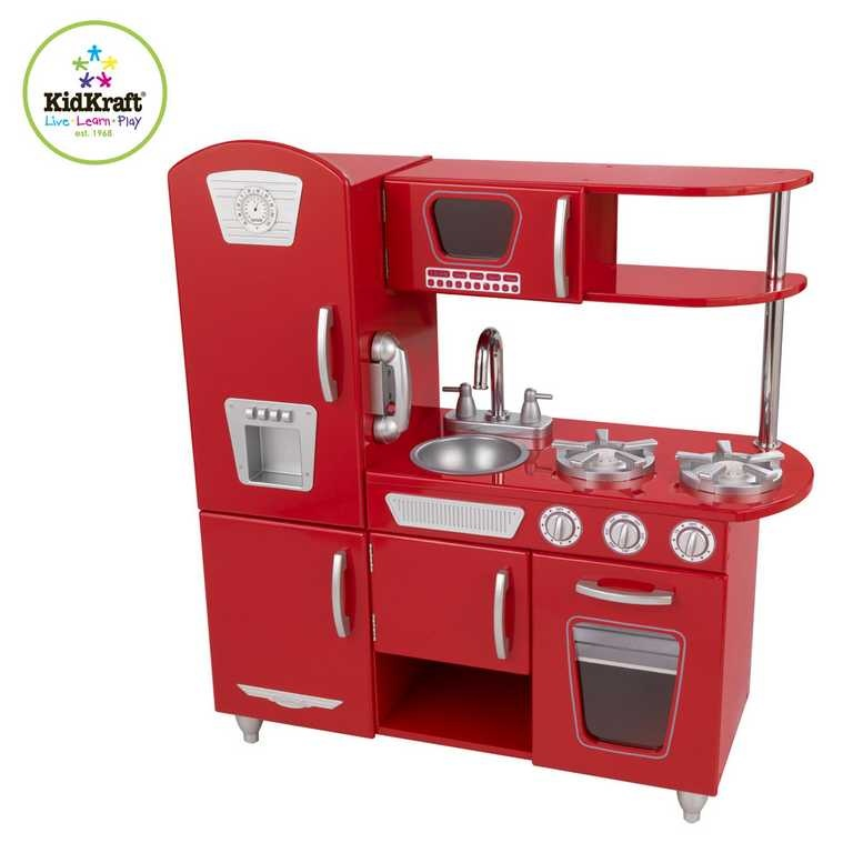 Kuchnia Dla Dzieci Drewniana Kidkraft Red Vintage Kitchen