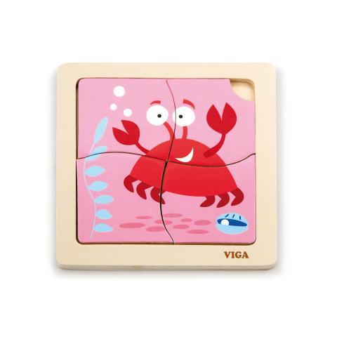 Puzzle drewniane 4 sztuki - krab