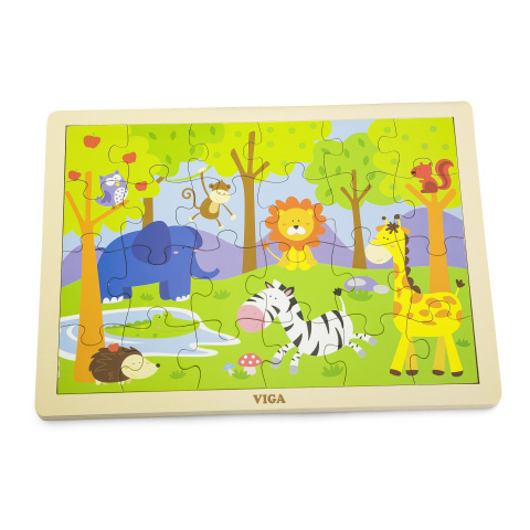 Puzzle drewniane 24 sztuki - zoo