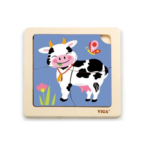 Puzzle drewniane 4 sztuki - krowa