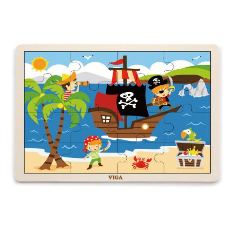 Puzzle drewniane 16 sztuk - piraci