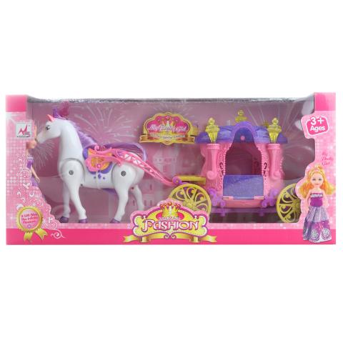 Koń z wózkiem dla małych lalek