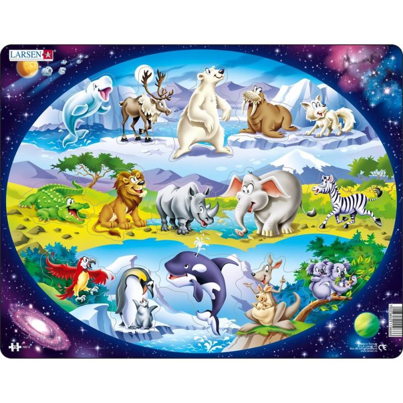 Puzzle Zvířátka ve světě 15 dílků