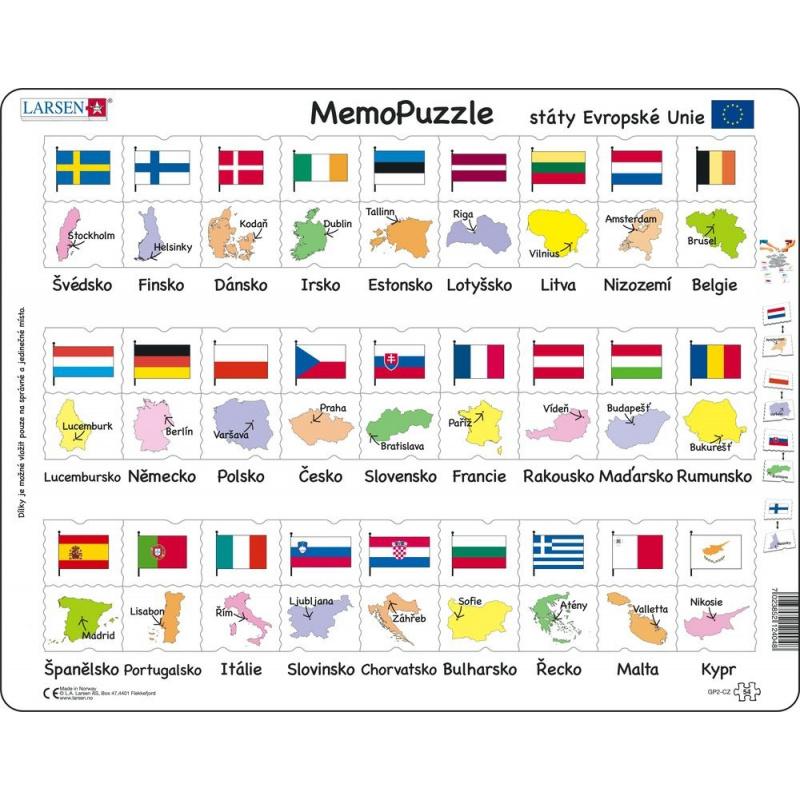 Puzzle Memo - státy,hlavní města,vlajky 54 dílků