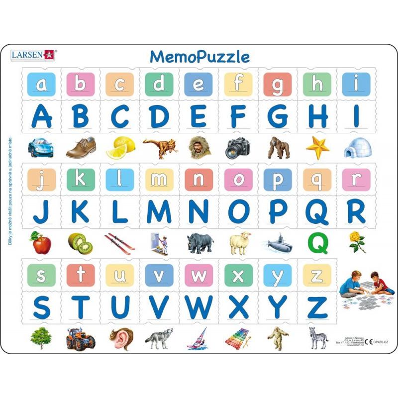 Puzzle Memo -  abeceda malá, velká, obrázky 52 dílků
