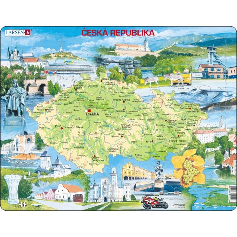 Puzzle Mapa Česko atraktívne miesta 77 dielikov