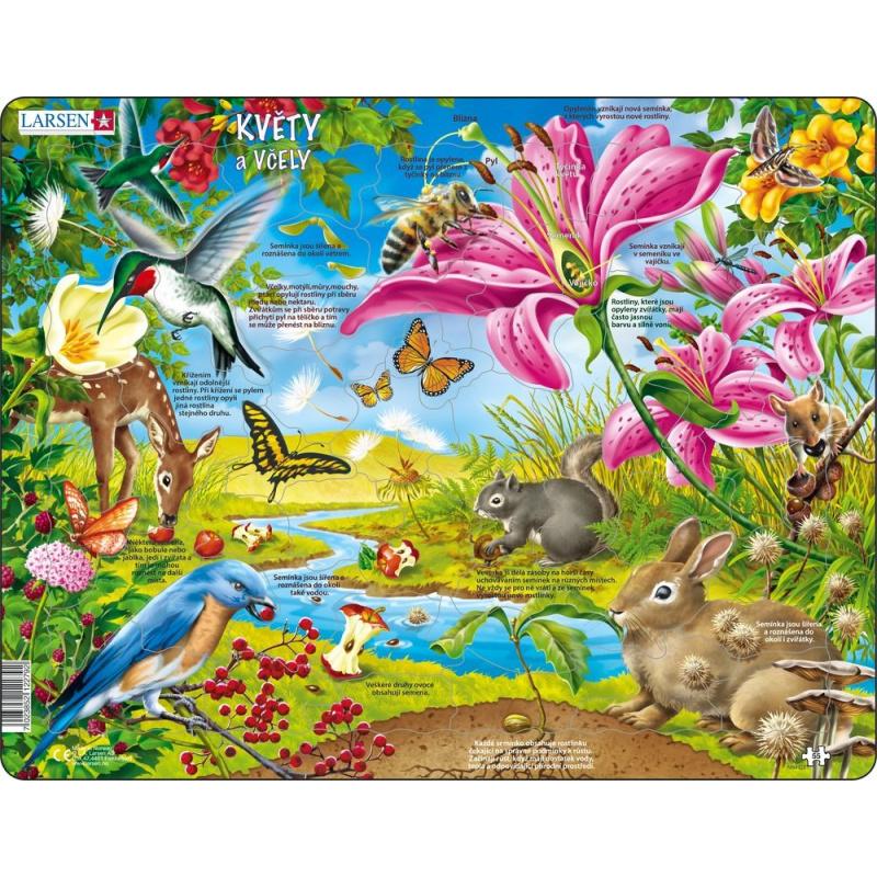 Puzzle Kvety a včielky 55 dielikov