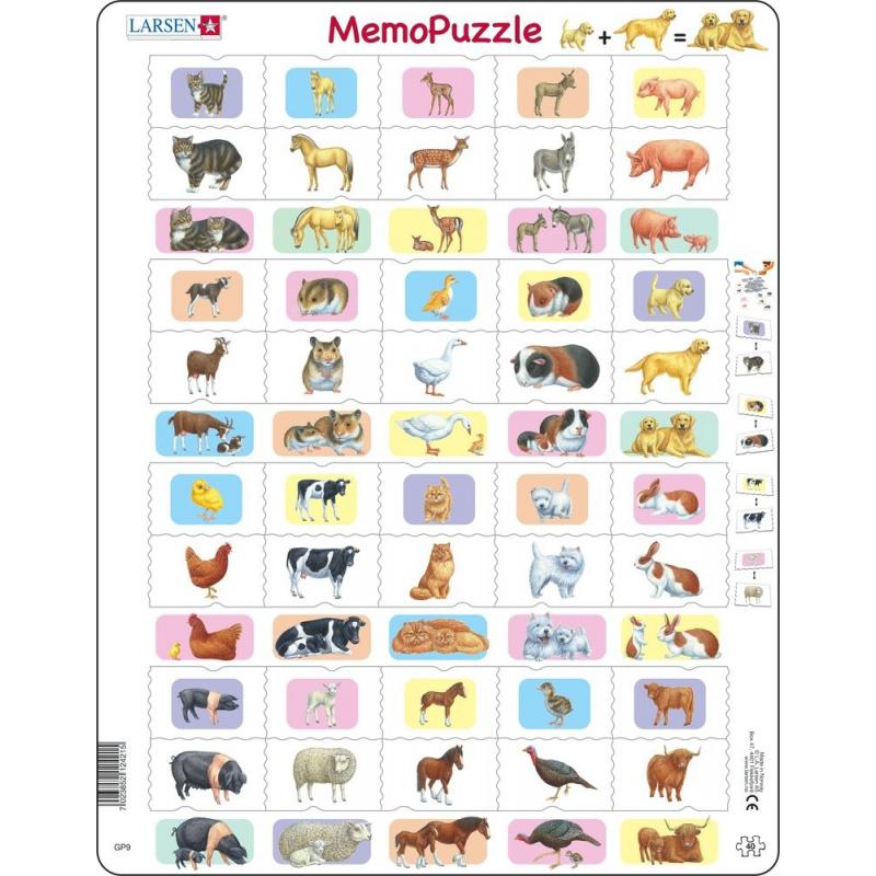 Puzzle Memo - domácí zvířata 40 dílků