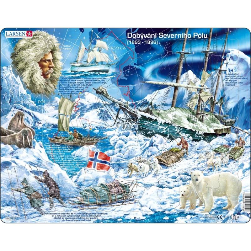 Puzzle Dobývání Severního pólu 65 dílků