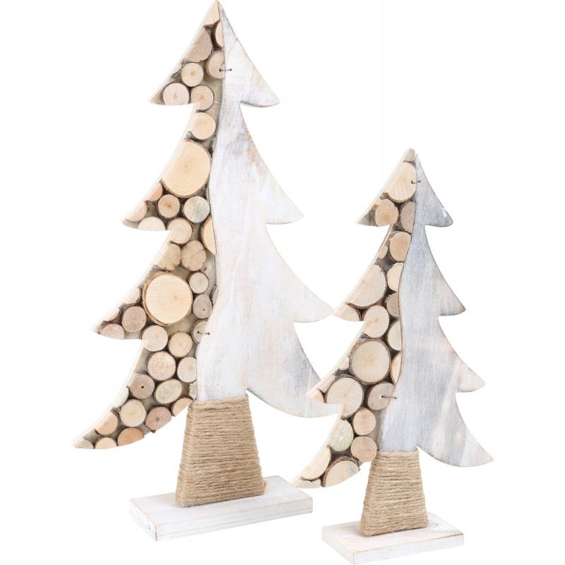 Small Foot Sada dřevěná vánoční dekorace stromeček 2 ks