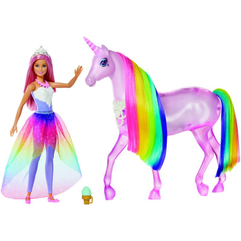 Barbie Dreamtopia - Jednorożec Magia świateł z tęczową grzywą, światłem i dźwiękiem + Lalka
