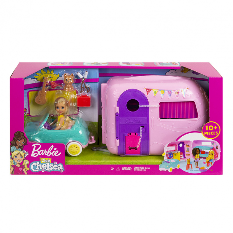 Barbie - Club Chelsea Przyczepa kempingowa + Lalka Chelsea z pieskiem