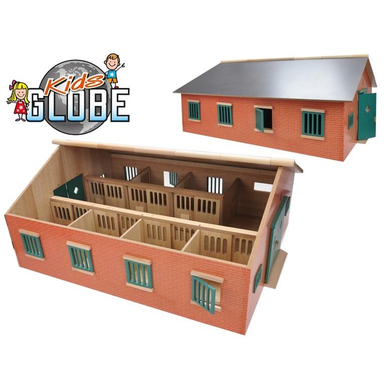 Stáj pro koně dřevěná 72,5x60x37,5cm 1:24 v krabičce