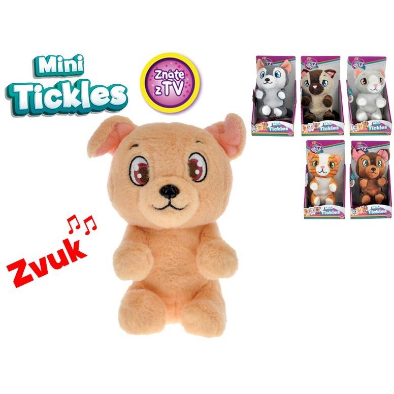 Mini Tickles plyšové zvířátko 16cm na baterie se zvukem a smějící se 12m+ 6druhů v krabičce