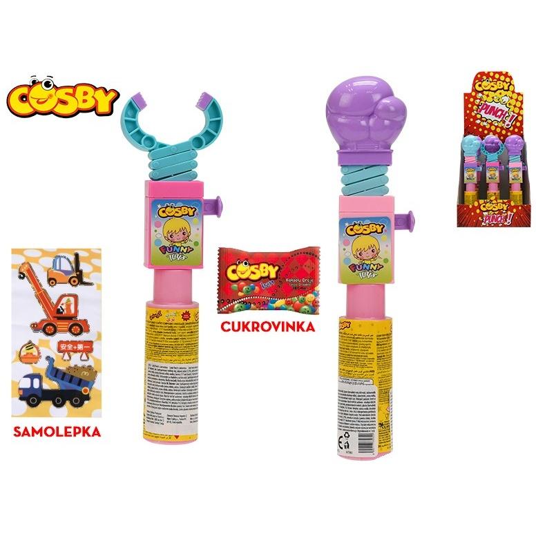 Cosby Punch 22-24cm s cukrovinkou a samolepkou 2druhy 2barvy 12ks v DBX