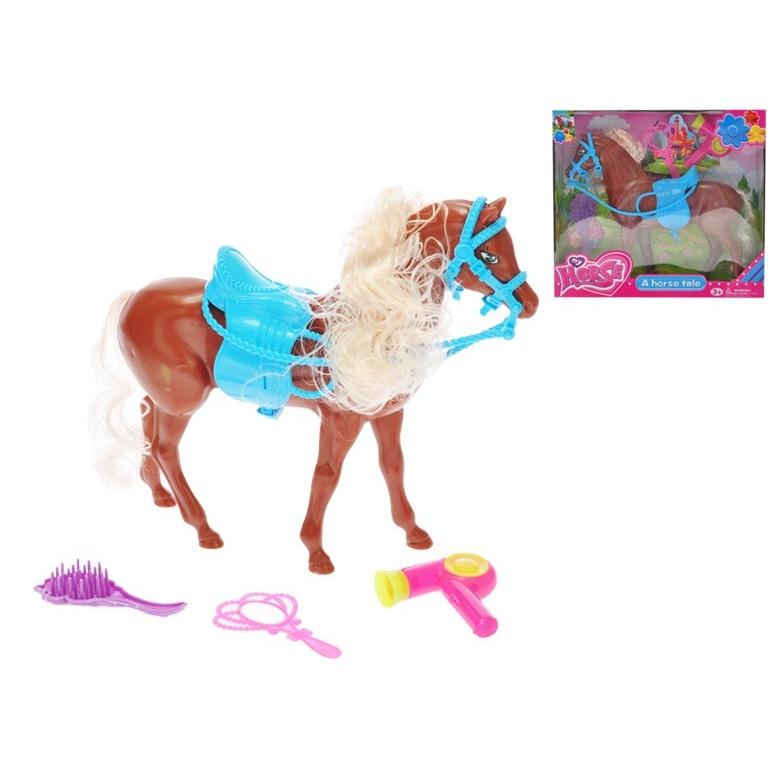 Kůň hnědý 24cm se sedlem a doplňky v krabičce