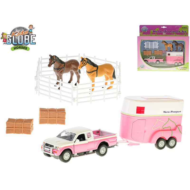 Samochód metalowy z przyczepą dla koni 13 cm w pudełku