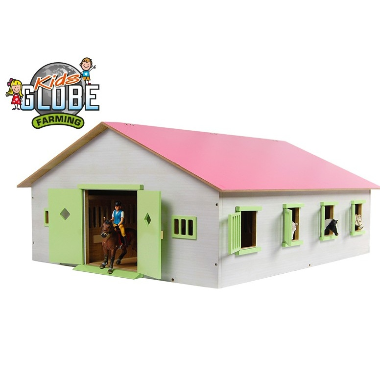 Stajňa pre kone drevená 1:24 ružová v krabičke