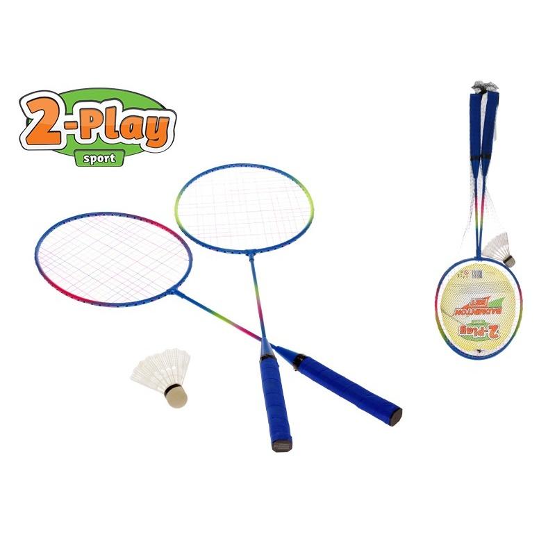 Badmintonové rakety 62,5cm 2-Play 2ks s košíčkem v síťce