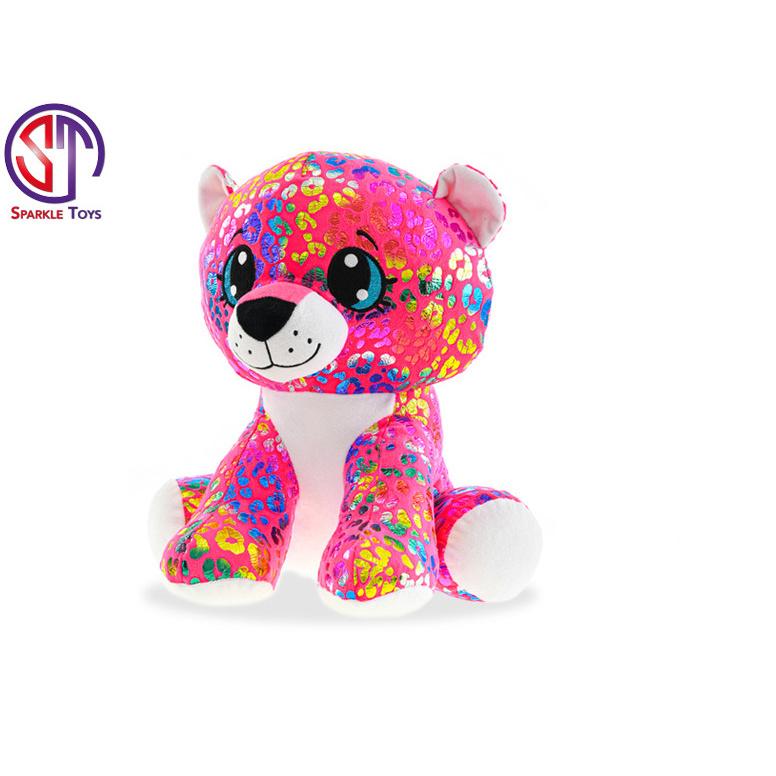 Leopard Rainbow Star Sparkle plyšový farebný 24cm sediaci 0m +
