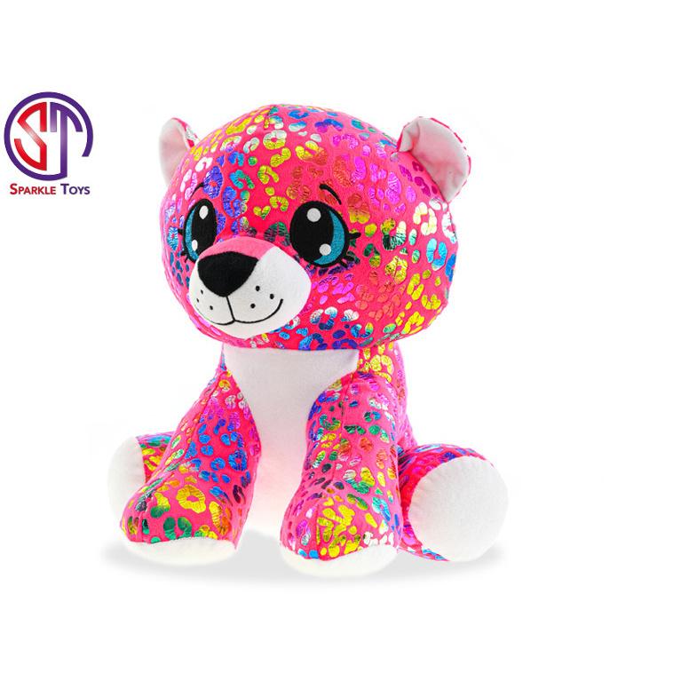 Leopard Rainbow Star Sparkle plyšový farebný 35cm sediaci 0m +