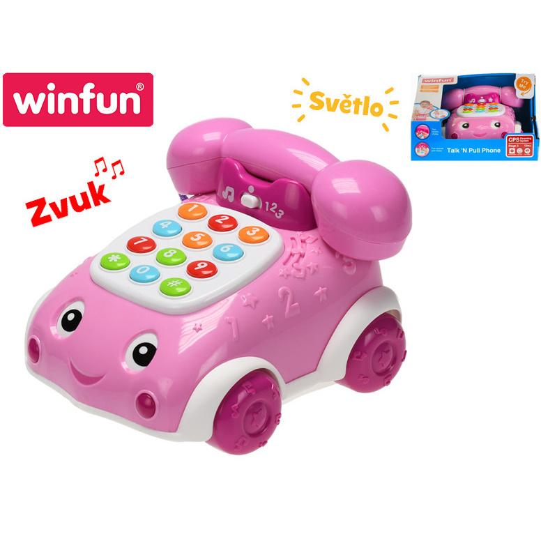 Telefonek 16 cm naučný ružový 2 funkcie na batérie so svetlom a zvukom 12 m + v krabičke