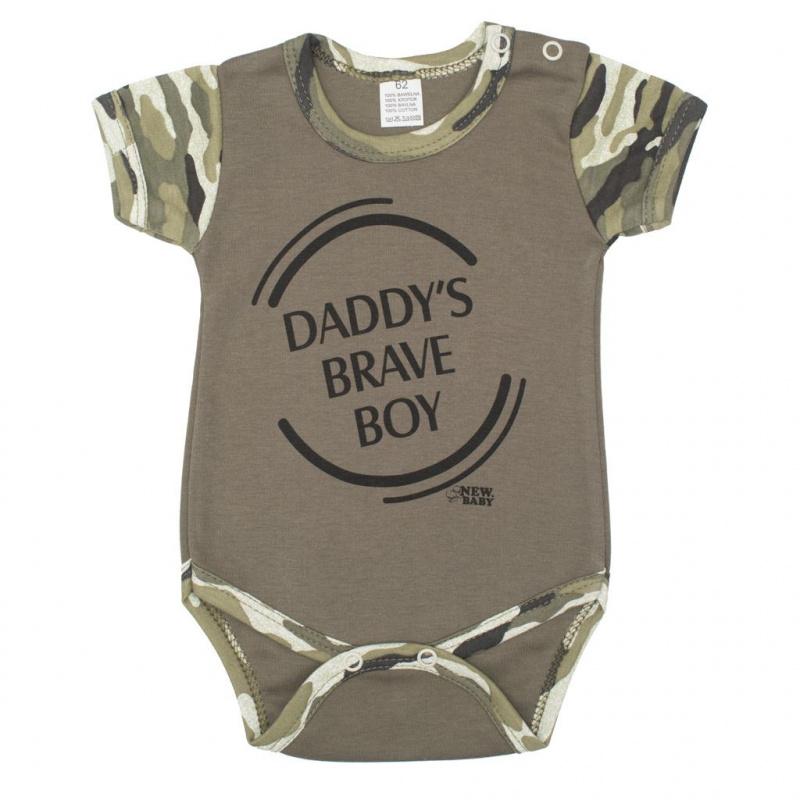 Kojenecké body s krátkým rukávem New Baby Army boy