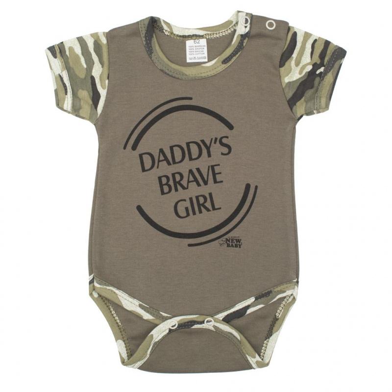 Dojčenské body s krátkym rukávom New Baby Army girl
