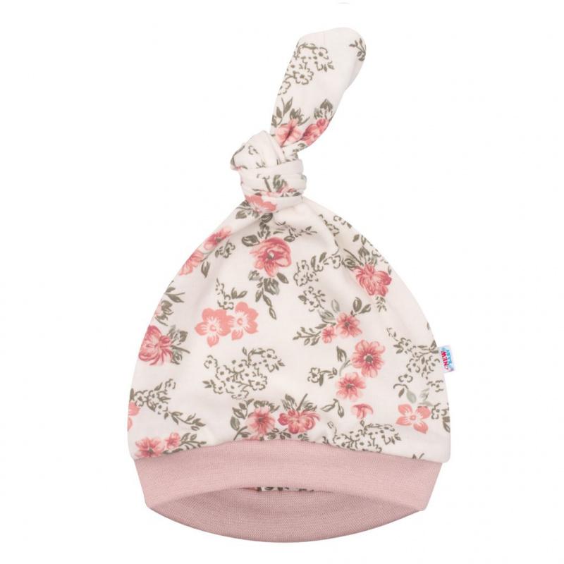 Kojenecká čepička New Baby Flowers růžová