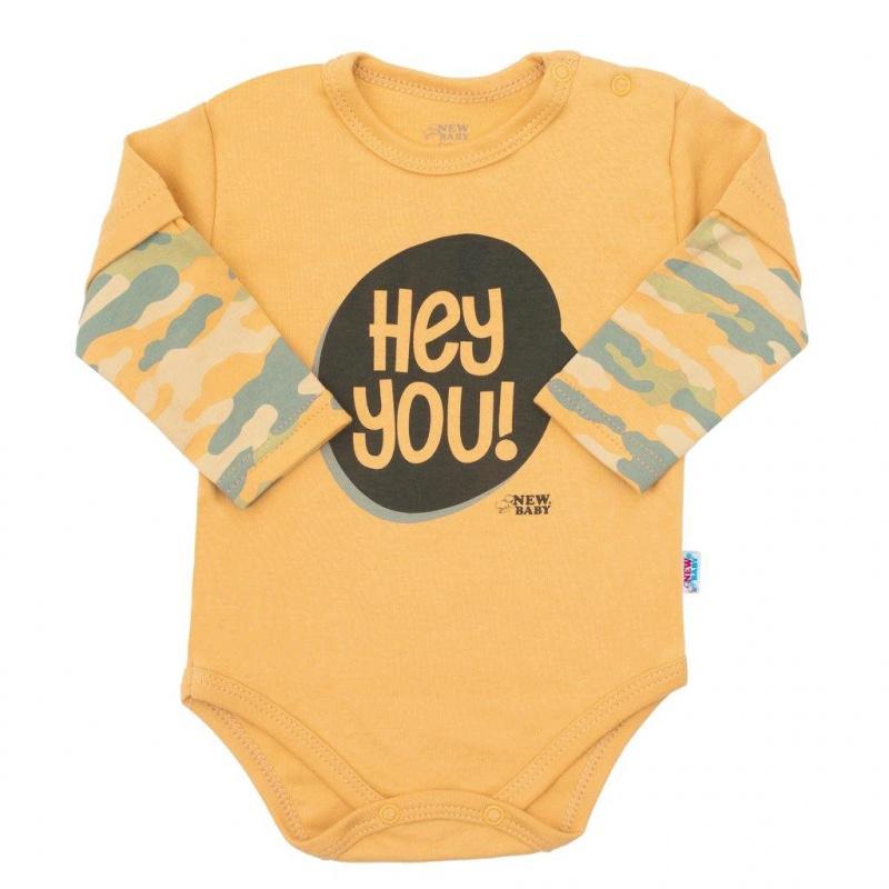 Dojčenské body s dlhým rukávom New Baby With Love horčicove