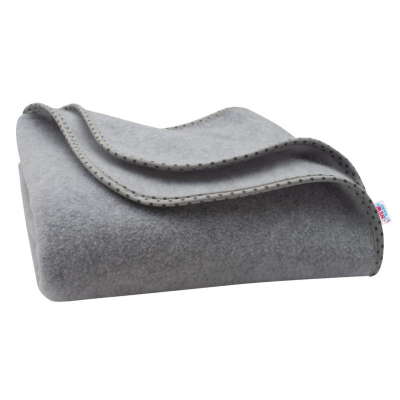 Detská fleecová deka New Baby 100x75 šedá Hviezdičky