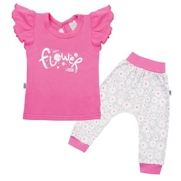 2-dílná kojenecká bavlněná souprava New Baby Happy Flower tmavě růžová
