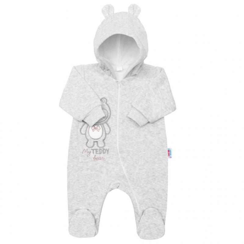 Dojčenský semiškový overal s kapucňou New Baby Sweetheart sivý