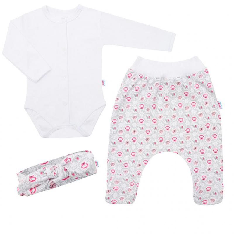 3-dielna bavlnená kojenecká súprava New Baby Kiddy bielo-ružová