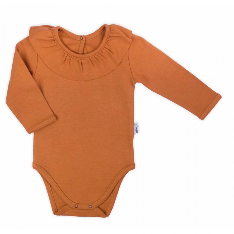 Dojčenské body s dlhým rukávom Nicol Mia hnedé