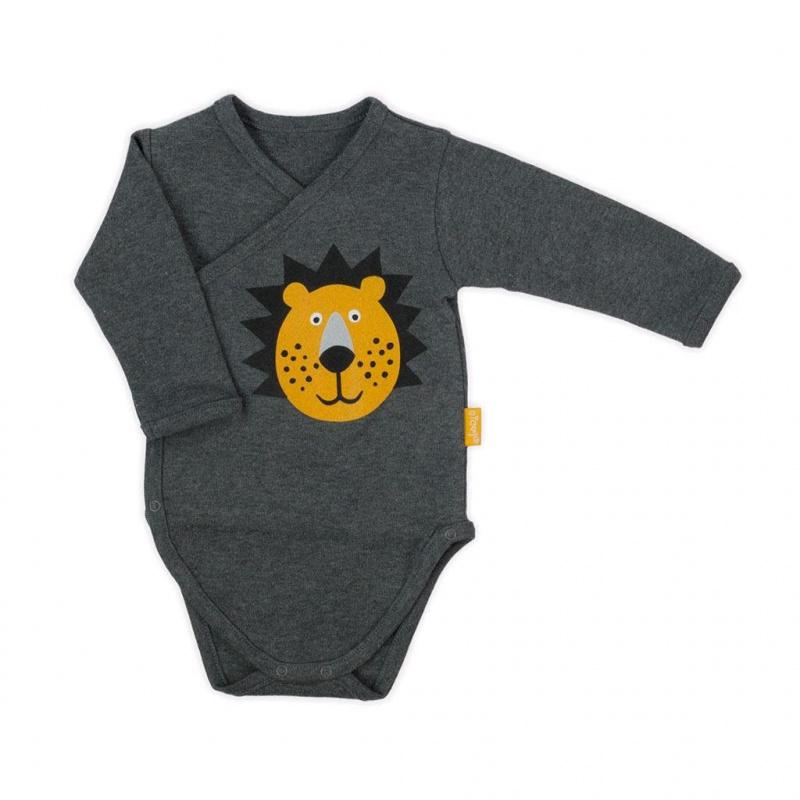 Dojčenské bavlnené celorozopínací body Nicol Prince Lion sivé
