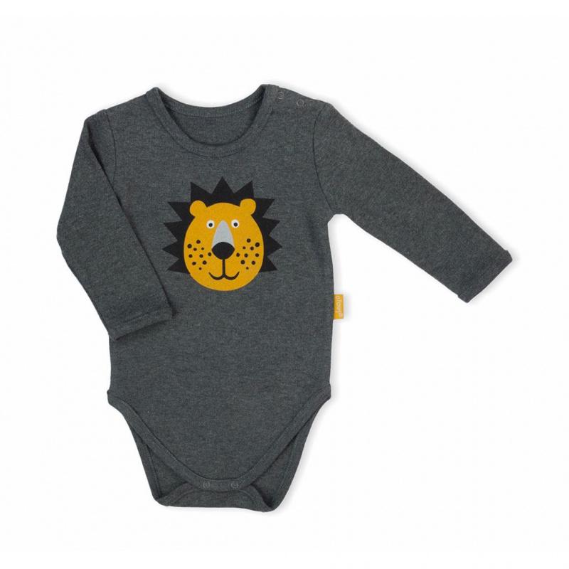Dojčenské body s dlhým rukávom Nicol Prince Lion šedej