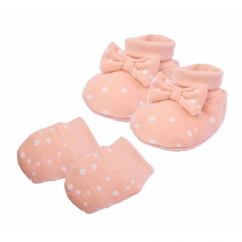 Kojenecký bavlněný set-capáčky a rukavičky Nicol Rainbow růžový