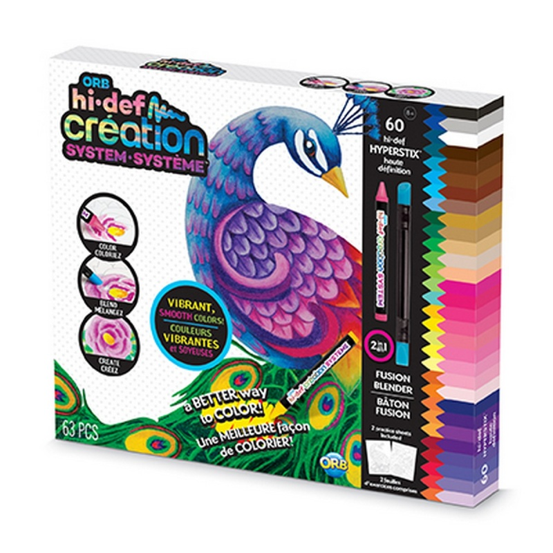 sada kreativních Hi-Def voskových pastelek s omalovánkami