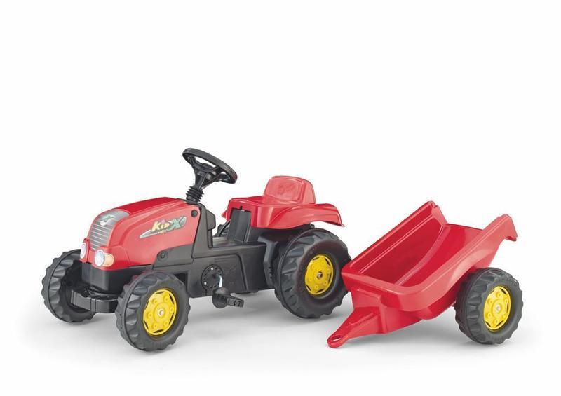 Šlapací traktor Rolly Kid s vlečkou - červený