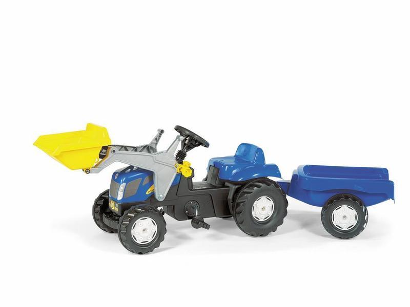 Šlapací traktor Rolly Kid N. H. modrý s nakladačem a vlečkou