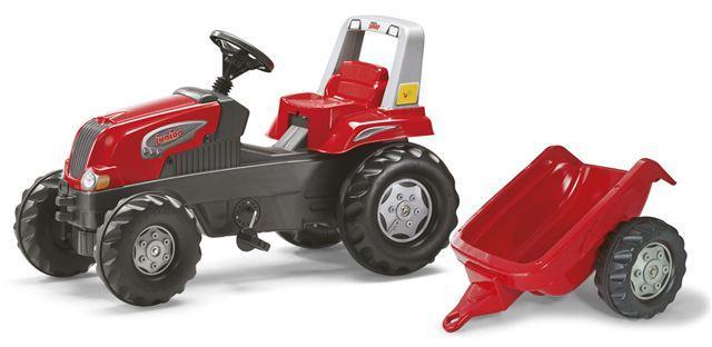 Šlapací traktor Rolly Junior s vlečkou červený