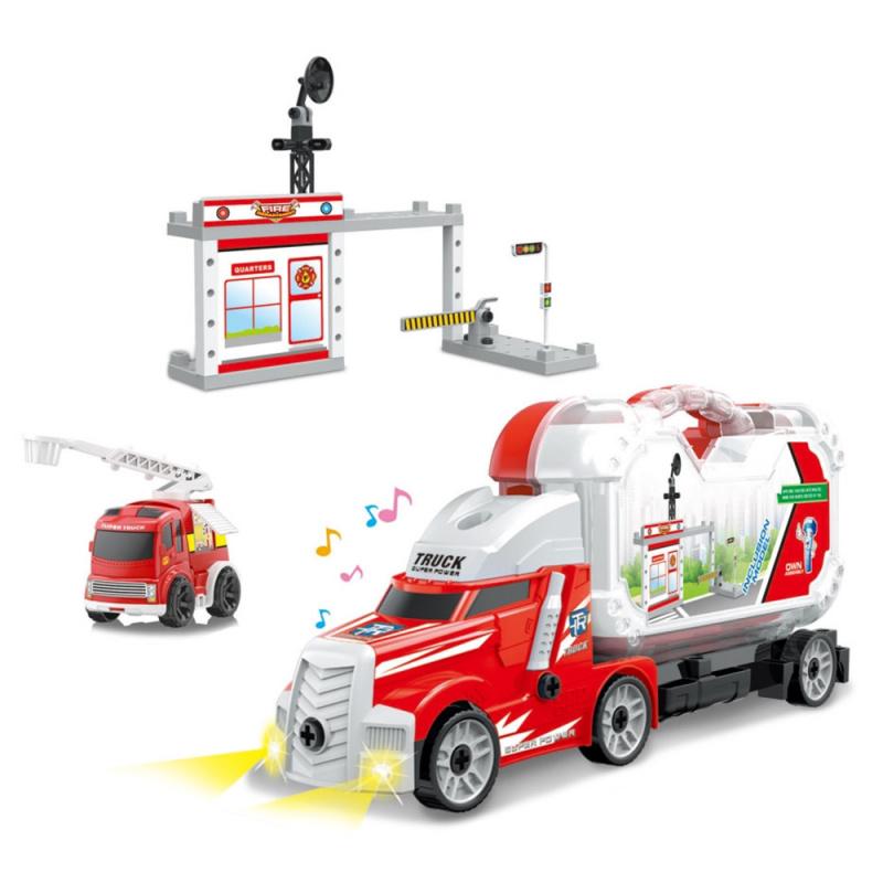 Šroubovací auto s kufrem a hasičskou stanicí se zvukem a světlem