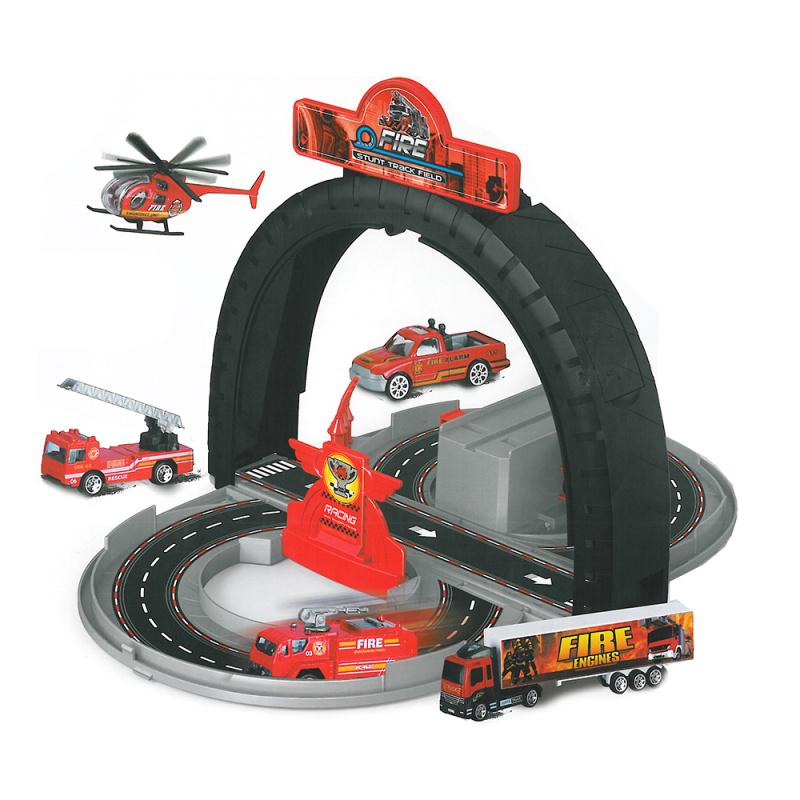 Dráha rozložitelná hasiči s kovovými auty