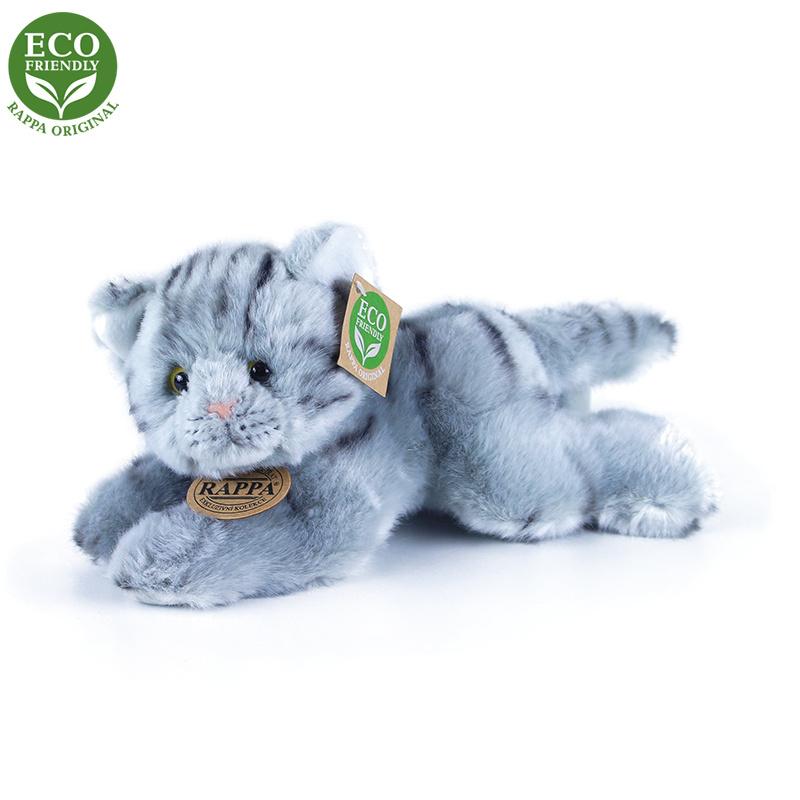 plyšová mačka šedá ležiaci, 30 cm, ECO-FRIENDLY