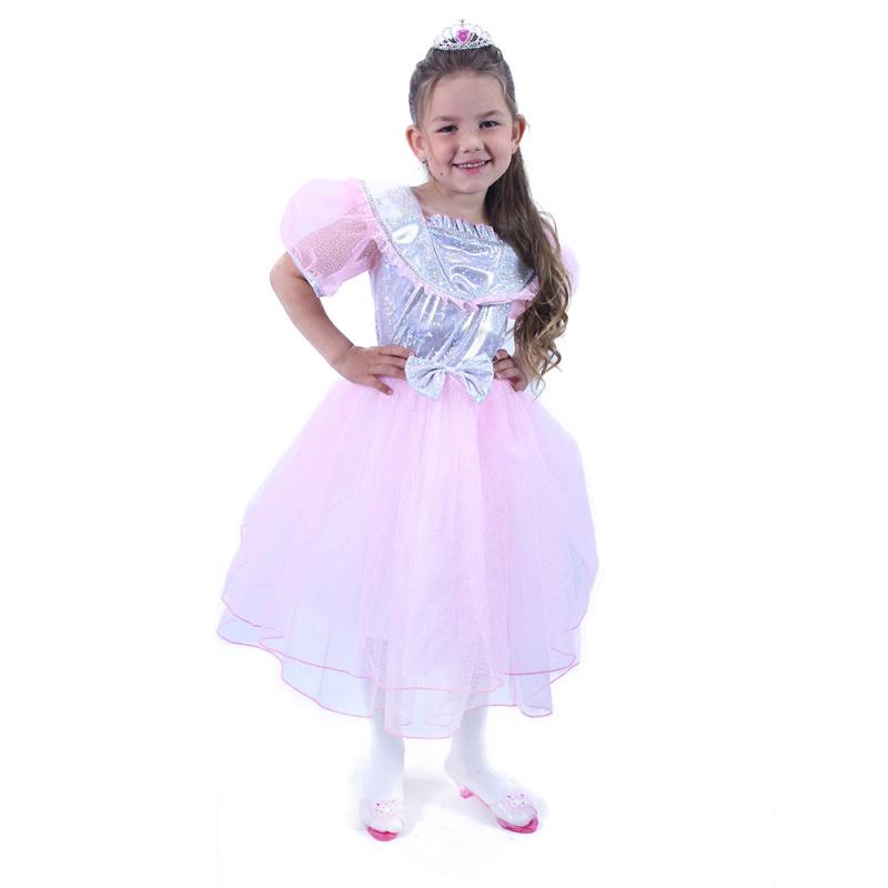 Kostium dziecięcy Księżniczka różowy ze wstążką (M)