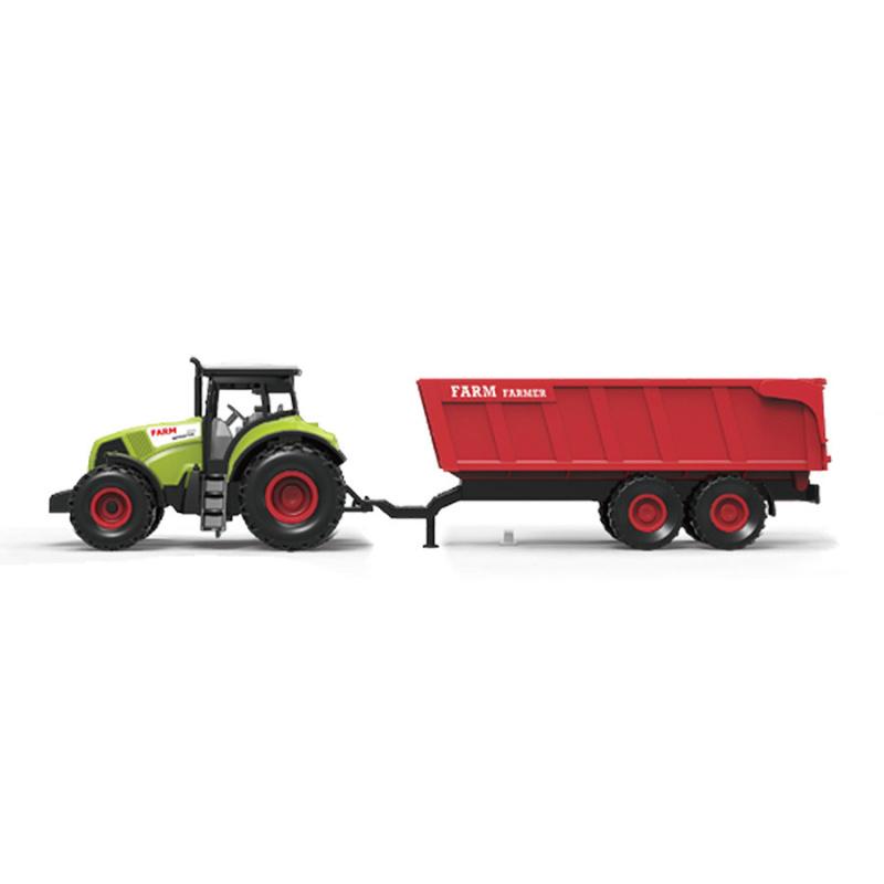 Traktor plastový so zvukom a svetlom s červenou vlečkou