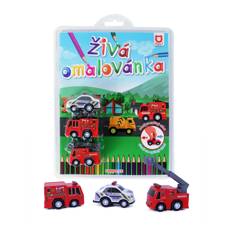 Živá omalovánka záchranáři-3 ks aut 2dr