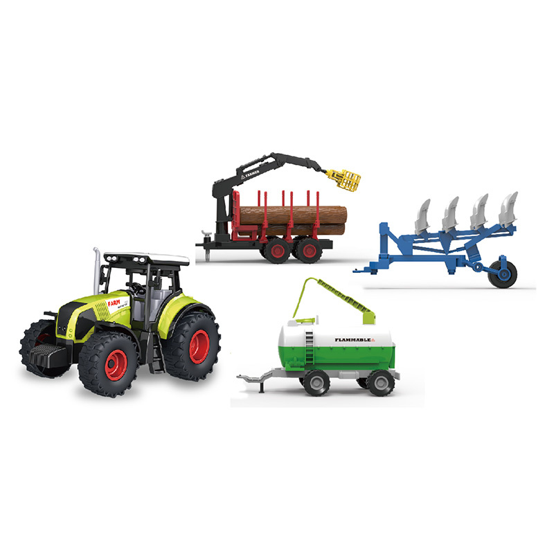 Sada traktor se světlem a zvukem se 3 vlečkami