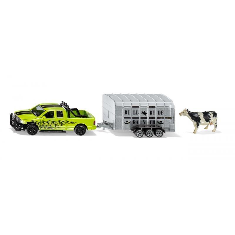 Siku Farmer - RAM 1500 s přívěsem na přepravu krav, 1:50